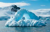 picture of iceberg  - Arch shaped iceberg Antarctica in Paradise Bay - JPG
