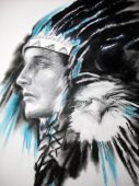 image of american indian  - art Illustration indian chief with eagle artwork by author - JPG