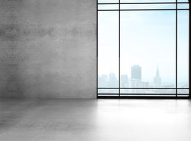pic of roof-light  - big sunlight office with window and gray wall - JPG