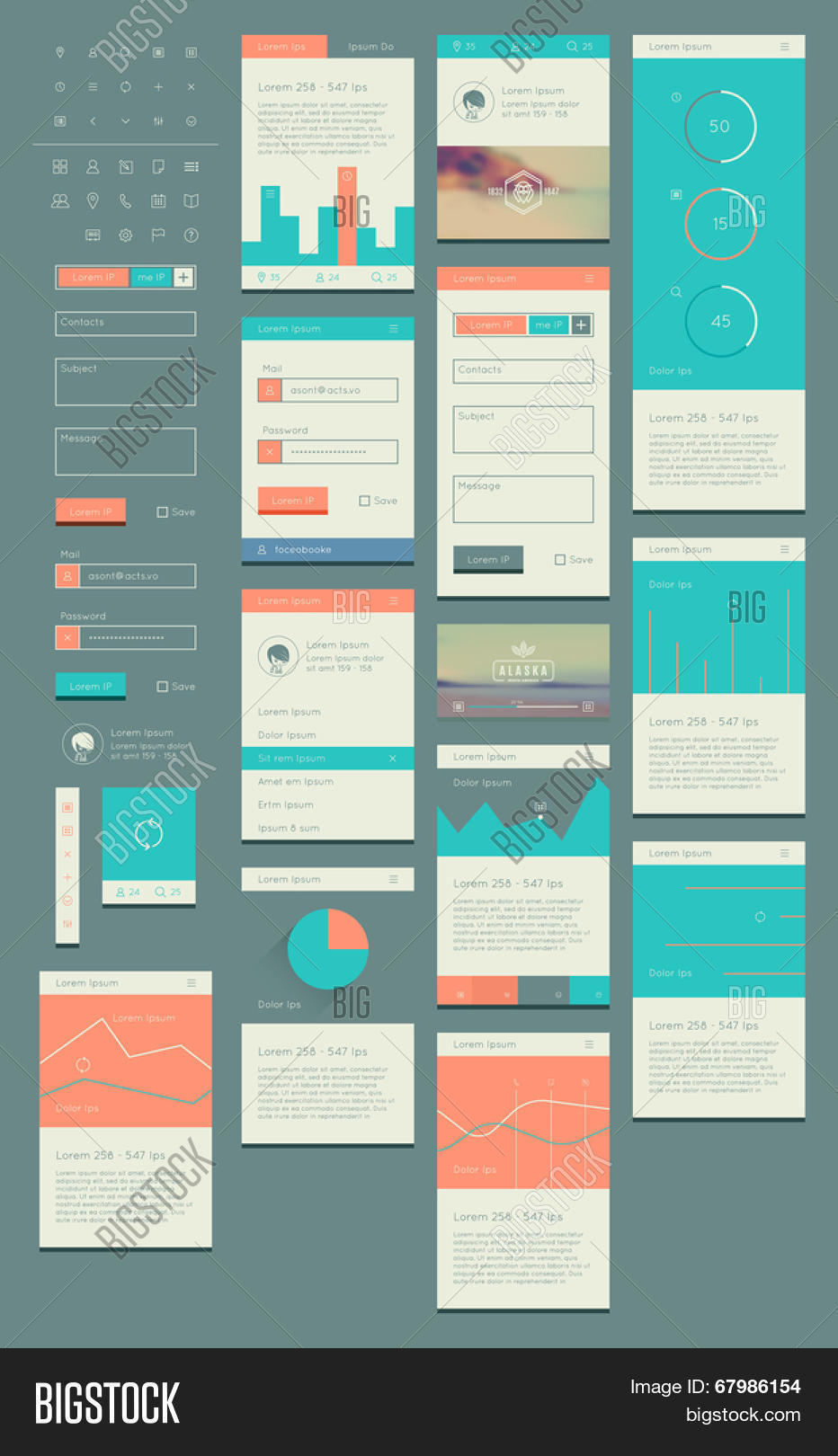 Flat UI Kit Web Mobile, UI Design Vector & Photo | Bigstock