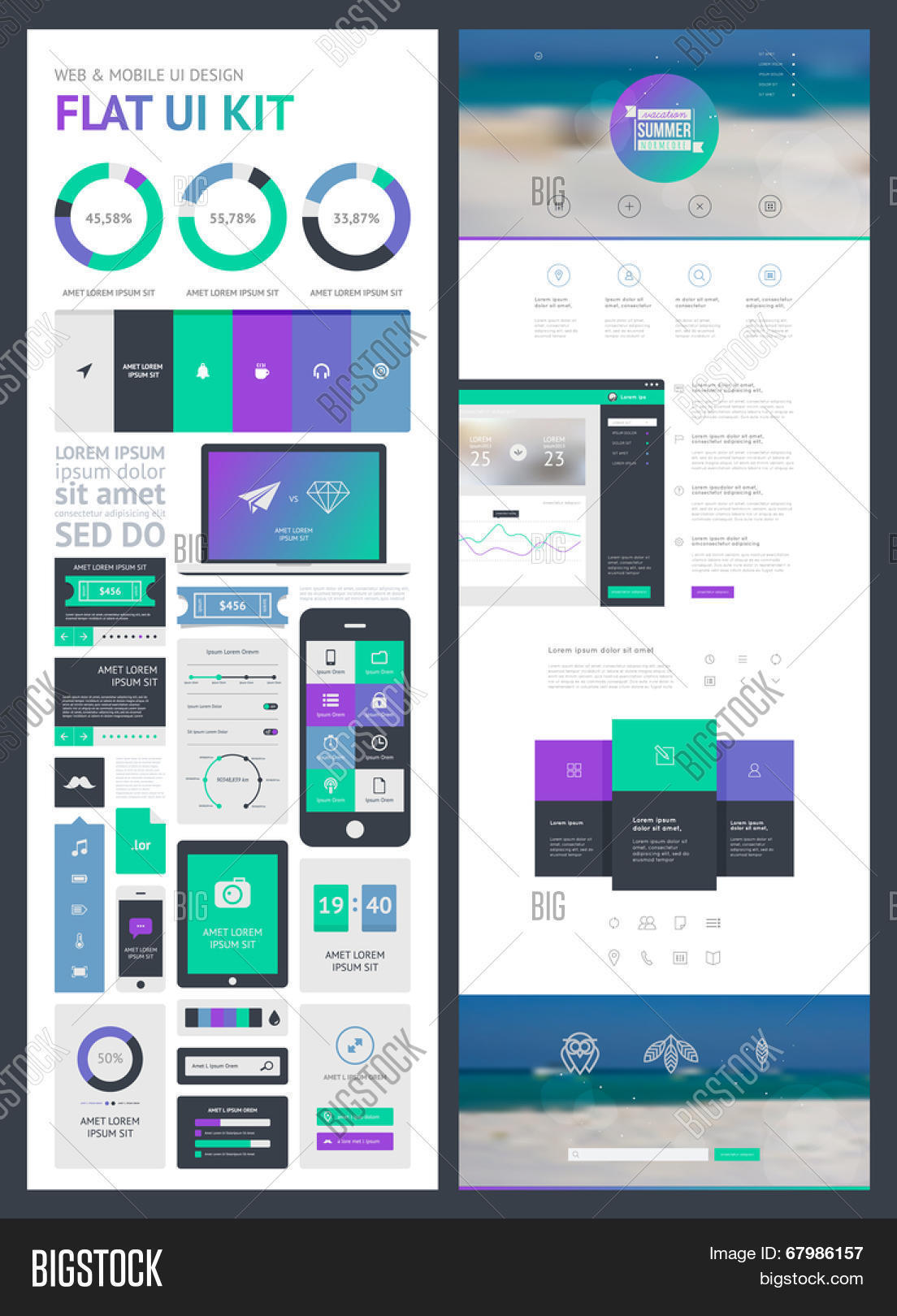flat UI kit for web and mobile, UI design, page website design ...