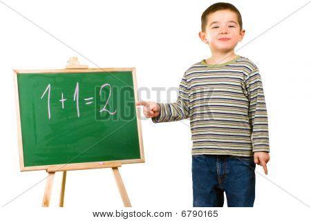Boy with blackboard