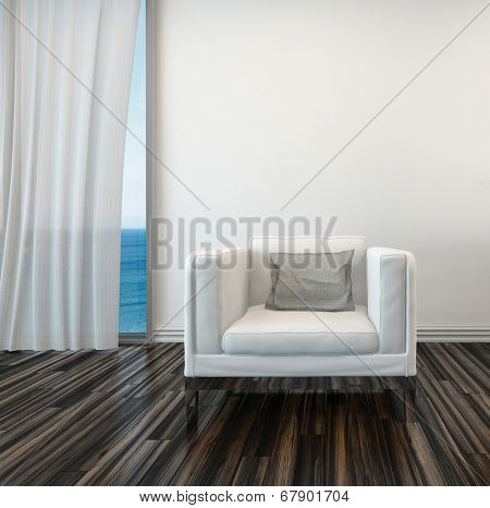 Armchair on a wooden parquet floor alongside a curtained window with a view of the sea in a living room interior