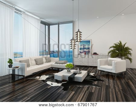 Modern living room interior overlooking the ocean with wooden parquet flooring, view windows, white decor and an upholstered lounge suite with potted palms