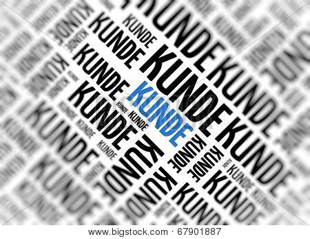 Background with german word - Kunde (Customer) - repeated in random sizes and orientations in black text with one central word in large blue uppercase lettering and selective focus