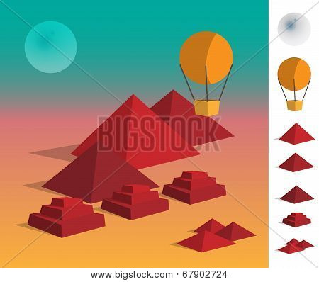 Illustration Of Geometric Landscape Piramids On Dessert