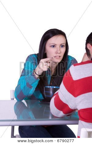 Boy And Girl On A Date Fighting