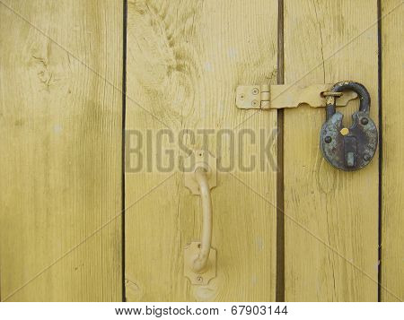 Painted boards with lock and handle