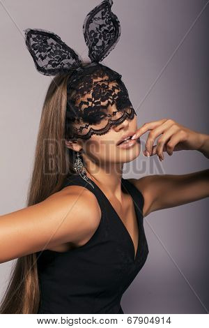Sexy Beautiful Girl With Long Straight Hair In Black Lace Bunny Mask