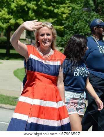 Democratic Candidate Debbie Dingell At The Ypsilanti, Mi 4Th Of July Parade