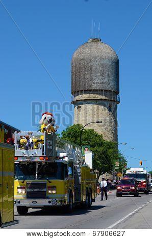 Fire And Rescue Representatives At The Ypsilanti, Mi 4Th Of July Parade
