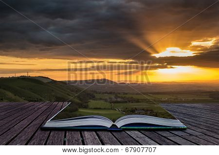 Stunning Vibrant Summer Sunset Over Escarpemt Landscape Creative Concept