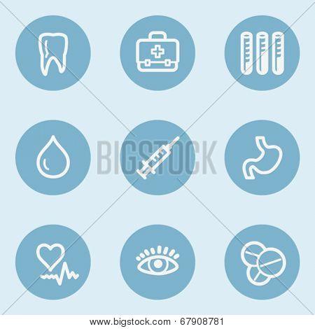 Medicine  web icon set 1, blue buttons