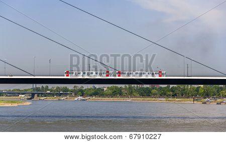 Tram Mouving On Oberkasseler Bridge In Dusseldorf