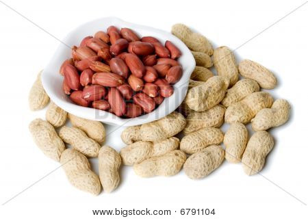 Roasted Peanuts Isolated On White
