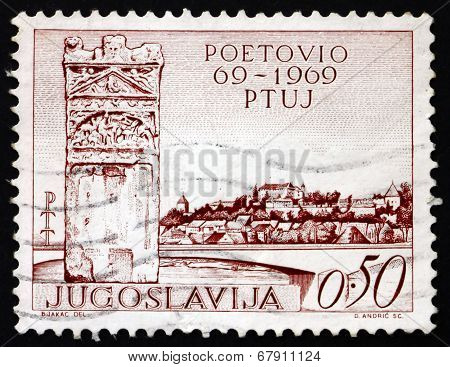 Postage Stamp Yugoslavia 1969 Roman Memorial And View Of Ptuj