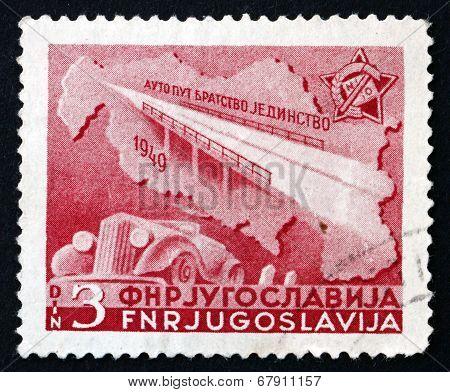 Postage Stamp Yugoslavia 1950 Bridge, Map And Automobile