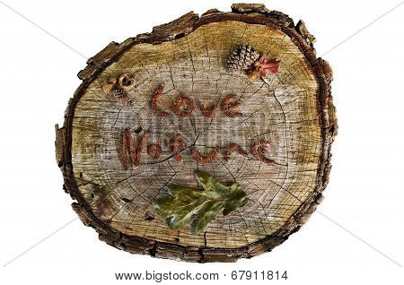 Closeup of tree stump sign with the words Love Nature written on on top