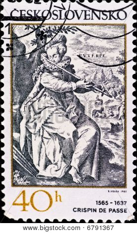 Postage Stamp Shows Engraving Of Crispin De Passe