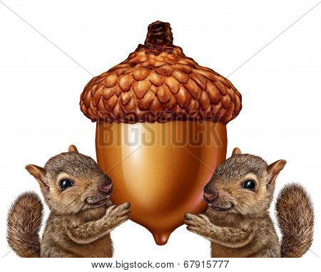 Squirrels Holding An Acorn