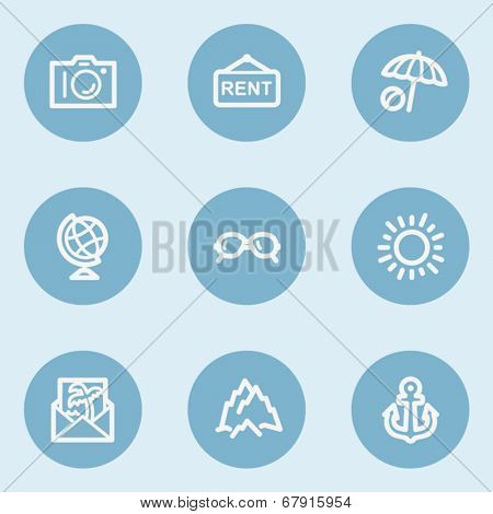 Travel  web icon set 5,  blue buttons