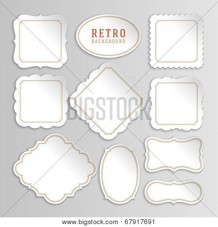 Vintage labels design. Retro style borders and frames, labels, tags, badges and stamps design. Bend paper and shadow set.
