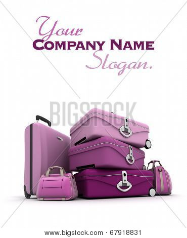 Feminine looking baggage in pinks and purples