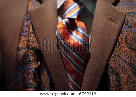 Brown Cashmere Coat, Patterned Silk Scarf And Tie
