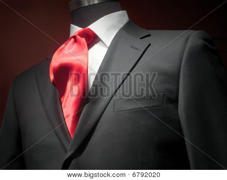 Dark Grey Jacket With White Shirt And Red Tie