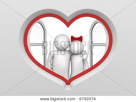 Couple In The Heart Shaped Window