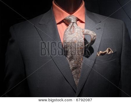Dark Grey Jacket With Orange Shirt, Patterned Tie And Handkerchief (horizontal)