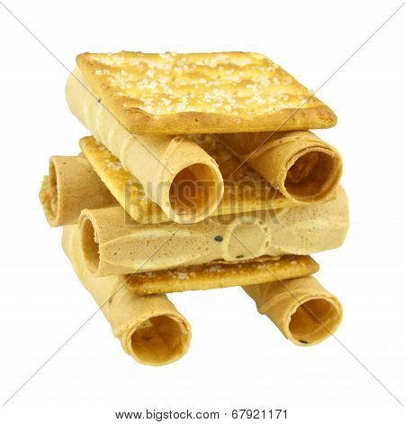 Close Up Tong Muan Rolled Wafer And Cracker Thailand As Robot Isolated