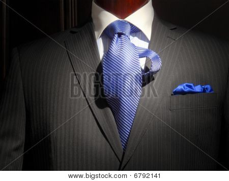 Striped Jacket With Blue Striped Tie And Handkerchief