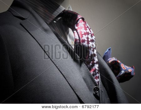 Grey Jacket, Vest, Tie And Handkerchief