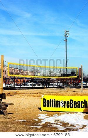 Baltimore USA - January 31 2014: Beach volleyball court