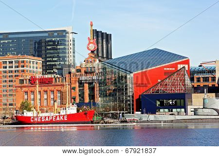 The Chesapeake lightship and the Torsk submarine at pier of Baltimore Inner Harbor