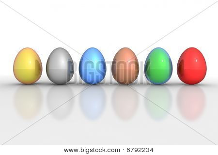 Six Metallic Eggs In A Line - Colourful Mix