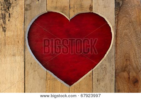 Love Valentines Heart Wooden Frame Red Board Background