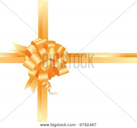 Golden gift bow and ribbon