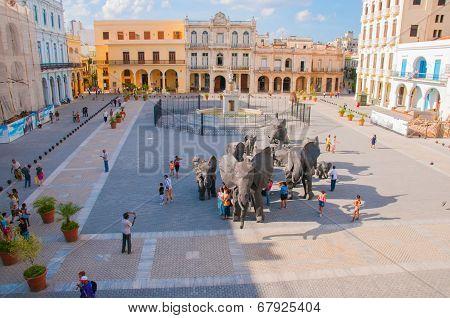 Plaza Vieja In Old Havana, Cuba