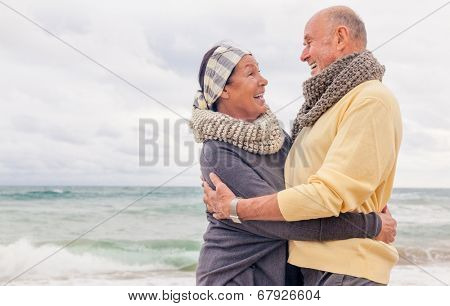 seniors relaxing smiling laughing colder season