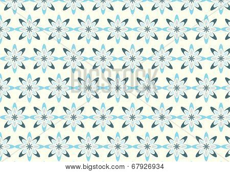 Abstract Blue Bloom Pattern In Boomerang Shape On Pastel Color