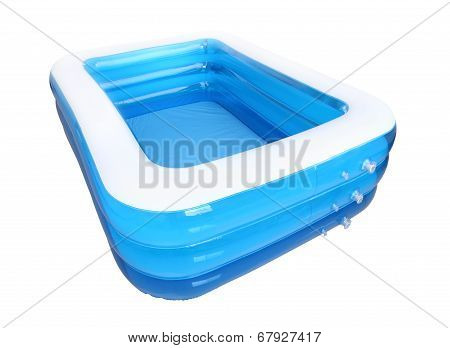 Corner empty inflatable rubber pool on white background.