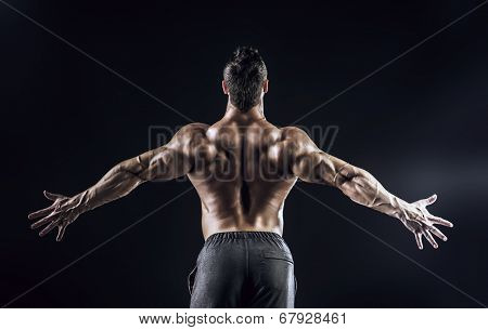 Beautiful muscular man bodybuilder posing back over dark background.