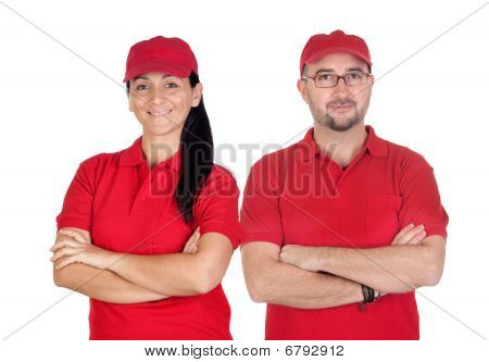 Deliverers Team With Red Uniform