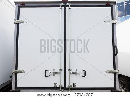 Back Doors Of New White Cargo Truck