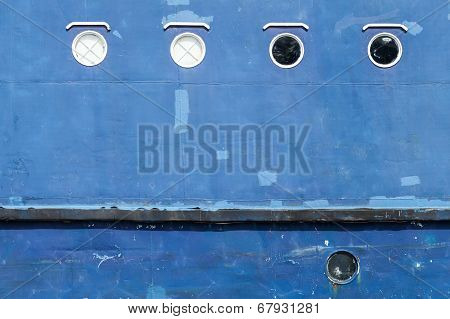 Blue Hull Of An Old Ship Texture With Round Portholes