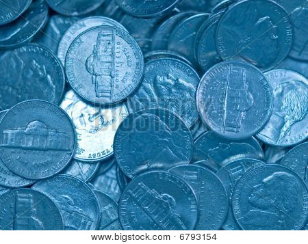 Pile Of United States Coins Bluetone Nickles