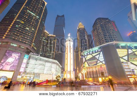 Chongqing, China - JAN 17: Jeifangbei downtown on Jan 15, 2014 in Chongqing China. Chongqing is the largest direct-controlled municipality and comprises 19 districts, 15 counties and 4 counties.