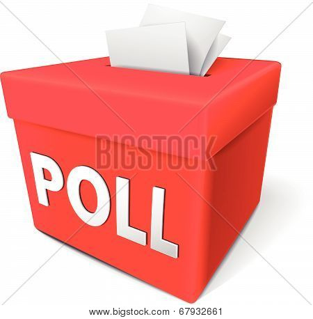 Poll Word On A Red Collection Box